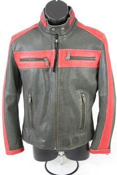 #DIESEL 100% #LEATHER Distressed #Motorcycle Riding ZIP #Jacket SIZE small Black Red