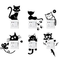 Switch Sticker, Yosemy Pcs] Lovely Cute Cartoon Vinyl Wall Switch Sticker for Home Decoration, Light Switch Decor Decals * Continue to the product at the image link. (This is an affiliate link) Wall Stickers Murals, Wall Murals, Wall Art, Wall Vinyl, Decoration Stickers, Wall Painting Decor, Art Decor, Wall Drawing, Cat Wall