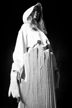 Sculptural Fashion with oversized shapes & cracked textures; creative fashion design // Horace Page