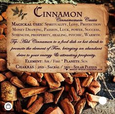 Potions, Candles, Incense, Crystals, Herbs & More * Bringing Magick to the Mundane! Magic Herbs, Herbal Magic, Mabon, Cinnamon Chips, Cinnamon Loaf, Cinnamon Drink, Cinnamon Hair, Cinnamon Desserts, Cinnamon Candy
