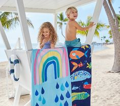Add a splash of vibrant design to summertime. Our pure cotton towels boast fade-resistant, eco-friendly dyes and a UPF rating for comfort and peace of mind during fun in the sun. Swimsuits For Tweens, Funny Fish, Swim Cover Ups, Beach Toys, Fishing Humor, Cotton Towels, Pottery Barn Kids, Hamper, Some Fun