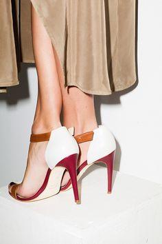 maryam nassir zadeh:  cranberry & tan heels