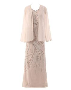 HarveyBridal Crystal Mother of the Bride Dress with Long Sleeve Jacket Champagne ** You can find out more details at the link of the image.