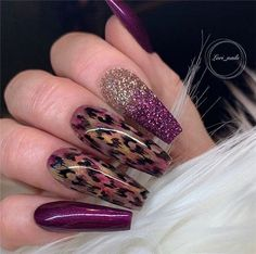 Newest Acrylic Coffin Nails Art Ideas In Fall; lila Newest Acrylic Coffin Nails Art Ideas In Fall Glam Nails, Dope Nails, Fancy Nails, Bling Nails, Gorgeous Nails, Pretty Nails, Leopard Print Nails, Leopard Nail Designs, Best Acrylic Nails
