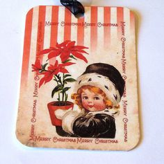 Merry Christmas Gift Tags  Set Of 6  Vintage Style by SiriusFun