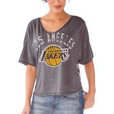 Los Angeles Lakers Touch by Alyssa Milano Women's Maverick Hi-Low Burnout T-Shirt - Gray - $29.99