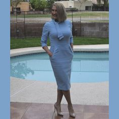An Elegant Dress for the Lady on a Budget – Haute Business Blue Dresses, Dresses For Work, Compliments, Budgeting, High Neck Dress, Take That, Elegant, Business, Lady