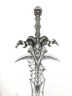World of warcraft illustration video games pinterest weapons frostmourne sword warcraft drawing ink pen detailed malvernweather Image collections