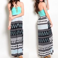 "HOST PICKTeal tribal maxi ⭐️5 STAR RATED!⭐️COMMENT WITH SIZE NEEDED AND I WILL MAKE A SEPARATE LISTING FOR YOU! Must have maxi for the summer! Tribal print designs of teal, white and black. 5"" of extra give not included in B/W measurements-Very stretchy and thicker silky material on bottom.   Available in S M L                                                      96% POLYESTER                                                       4% SPANDEX…"