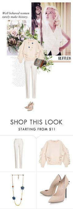 """ When you been a b!tch all day but bow you need bae to do something for you "" by crazydita ❤ liked on Polyvore featuring Jil Sander, STELLA McCARTNEY, Ulyana Sergeenko, Casadei and ruffledtops"