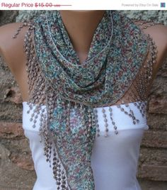Multicolor Shawl - Cotton Scarf -  Cowl Scarf  with  Lace Edge - fatwoman. $13.50, via Etsy.