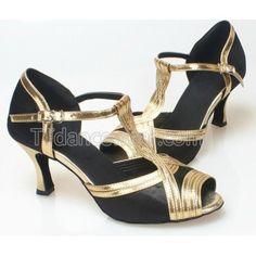 Free Shipping Wholesale Black Satin Gold Trim Salsa Dance Shoes