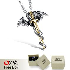 Brand New EU Dragon & Sword Design Pendant Cool Rock Stainless Steel Men Jewelry Necklace Charm Accessory Dragon Sword, Sword Design, Necklace Types, Beautiful Gifts, Fashion Jewelry, Men's Jewelry, All About Fashion, Pendant Necklace, Necklace Charm