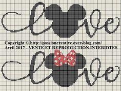 Grille gratuite point de croix : Mickey et Minnie love 1