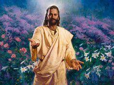 """O Convite. esus diz: """"Vinde a mim, todos os que estais sobrecarregados, e eu vos aliviarei"""". Mateus 11:28. Óleo sobre tela. Christian Nathan Greene."""