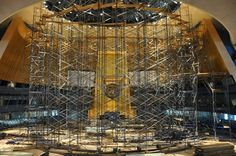 """UN General Assembly Hall is usually one of the busiest rooms around in September but this year it's under construction!   The General Assembly """"general debate"""" -- at which more than 130 world leaders will speak this week -- will be held in the UN's North Lawn Building"""