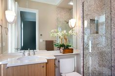 Organic modern bathroom with custom cabinetry - by Amy May, May Designs, Seattle, WA.