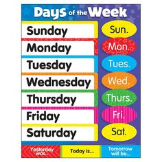 Printable days of the week cheap charts days of the week from learning charts days of the week publicscrutiny Image collections