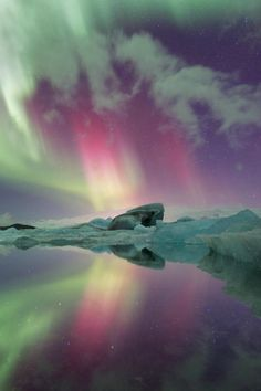 "tulipnight: ""Aurora over Lagoon"" by Josh Anon"