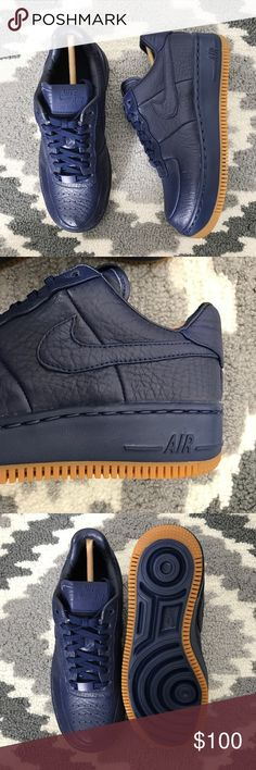 b6248789e60a Nike Air Force 1 Low Pinnacle Leather Sneakers •NikeLab Premium blue  leather Air Force 1