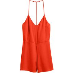 H&M Satin jumpsuit ($7.23) ❤ liked on Polyvore featuring jumpsuits, rompers, dresses, jumpsuit, playsuits, orange, satin romper, orange romper, romper jumpsuit and satin jumpsuit