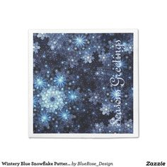 Shop Wintery Blue Snowflake Pattern Napkins created by BlueRose_Design. Paper Napkins, Paper Plates, Raffle Prizes, Christmas Napkins, Snowflake Pattern, Cocktail Napkins, Vinyl Lettering, Party Printables, Holiday Parties