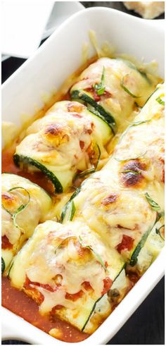 Zucchini Lasagna Rolls - Delicious lasagna rolls made using zucchini instead of pasta. A healthy, gluten free alternative with all the flavor of the traditional version!