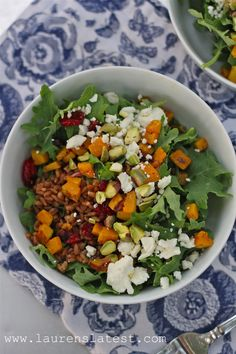 Winter Wheat Berry Power Salad--Kale, roasted butternut squash, wheat berries, crumbled feta cheese, pistachios and craisins tossed together in a maple tarragon dressing. So good and good for you!