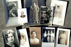 10 Vintage Photos WOMEN Postcards Photos Black White by Sweetkate (Art & Collectibles, Photography, Black & White, vintage photos, black white photos, children photos, cabinet photo, sepia photo, ephemera, kid photo, supplies, craft supplies, women, woman, vintage postcard, postcard)