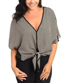 Take a look at this Black & Tan Zigzag Tie Button-Up Top - Plus by Buy in America on #zulily today!