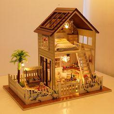 Бесплатная Доставка Сборка DIY Миниатюрный Комплект Модель Деревянная Кукла Дом, Квартира В Париже, Дом Игрушки с Мебелью купить на AliExpress