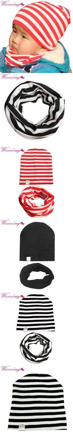 2PCS/sets Baby Cap Scarf Kids Girls Boys Winter Cotton Hats Knitted Striped Toddler Children Hat+Collar Winter Cotton Kids Hat