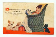 MABEL LUCIE ATTWELL POSTCARD 1930's VALENTINES POST CARD ~ CAT Puppy Dog BOY
