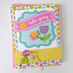 "Celebrations: Spring & Easter Cards, Tags, Layouts, Albums & Party Favors ❤ A Doodlebug ""Hello Spring"" card by Kathy Martin."