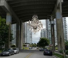 stunning rodney graham chandelier to be installed under the granville bridge. | theartmarket.ca - canada's comprehensive art resource