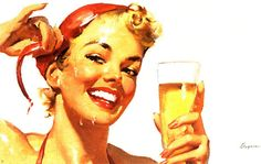 RETRO PINUP GIRL - QUALITY CANVAS Print Poster Gil Elvgren Beer lager A4