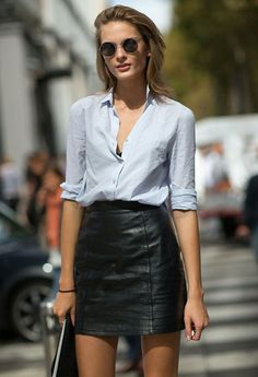 Look; Street style; Skirt; Leather; Shirt