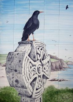 'SYMBOLS OF CORNWALL' | Venessa Lagrand: 'The chough is a rare bird and almost vanished, it has returned to Cornwall and its numbers are increasing. Sitting on a Celtic Cross, both are strong symbols identified with Cornwall, the extreme south west of Great Britain. The panel consists of 35 tiles of 15 x 15cm 8mm thick ie 105cm high by 75cm wide.'     ✫ღ⊰n