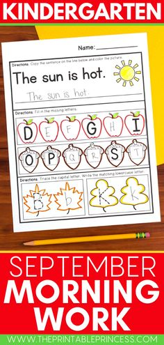 Welcome students back to school this fall with this September Kindergarten Morning Work math and literacy resource! These Common Core aligned practice pages include counting, ten frames, number practice, letter practice, beginning sounds, name practice and more! Kindergarten Morning Work, Kindergarten Math Activities, Kindergarten Classroom, Name Practice, Welcome Students, Beginning Sounds, Ten Frames, Math Skills, Math Worksheets
