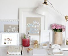 13 Ways to Make Your Desk a Healthier Space in 2015. Too Blessed to be Stressed framed is a must