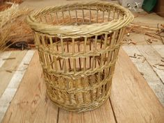 Fitched waste paper basket in green willow. 9th Wedding Anniversary, Waste Paper, Paper Basket, Basket Weaving, Wicker Baskets, Craftsman, Green, Handmade, Home Decor