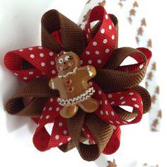 Gingerbread Girl #Christmas Hair Bow Headband #Etsy #Handmade #CupcakesClipShop