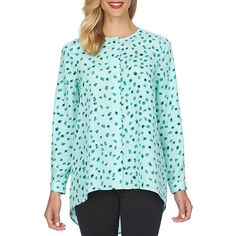 Cece By Cynthia Steffe Printed Button-Front Blouse ($79) ❤ liked on Polyvore featuring tops, blouses, aqua frost, cap sleeve top, aqua top, blue blouse, blue top and print tops
