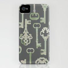Skeleton Key Pattern in Gray iPhone Case by ElephantTrunkStudio #iphone5