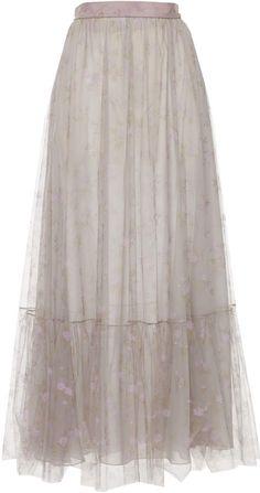 Blumarine Floral Printed Tulle Skirt