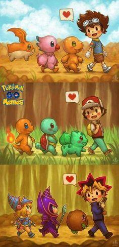 3 of my favourite things  Digimon Adventure, Pokémon, and Yu-Gi-Oh