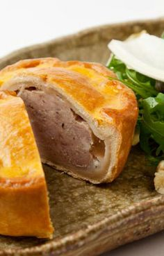 Pork pie with Stilton salad - Paul Foster. Paul Foster lends a gourmet touch to this pork pie recipe, using minced pork belly and pork shoulder to create a stunning version of a picnic classic. The sour note of stilton and sharpness of chicory, serve to cut throught the fattyness of the pie and turns this from snack to meal.