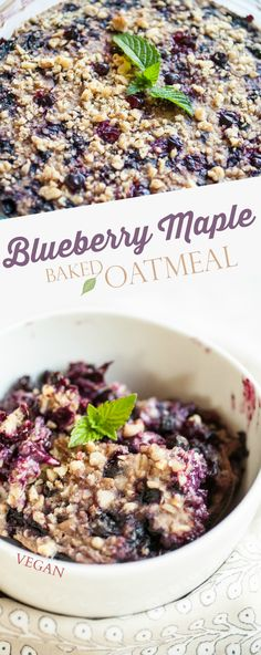 Produce On Parade - Blueberry Maple Baked Oatmeal - Healthier than a crisp, this adaptable blueberry oatmeal bake is flavored with sweet maple syrup and speckled with toasted walnuts