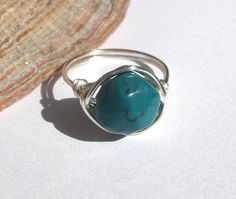 Turquoise ring wire wrapped jewelry by SunshineDaydreamz