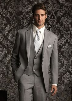 2014 New Designed  men's Gray Notch lapel Groom wear / Prom suit for men /Groom wedding tuxedos $159.00